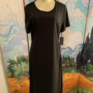 Tommy Hilfiger Black Ruched Tie Side Midi Dress